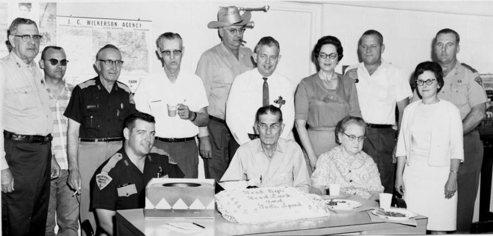 June 1968-Mayes County Undersheriff Fred Grimes retirement party.  Back Row from Left to right: T.J.