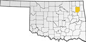 Map showing Mayes County location within the state of Oklahoma